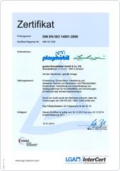 Zertifikat Umweltmanagementsystem